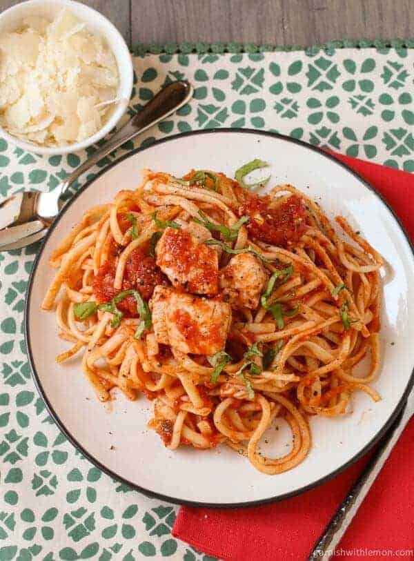 Spicy Tilapia with Linguine