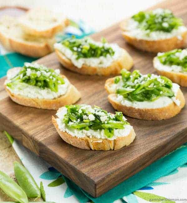 Sugar Snap Pea Crostini with Goat Cheese and Arugula