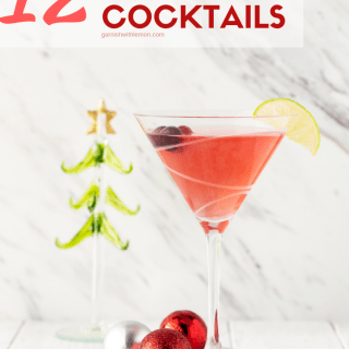 Straight on Image of Cranberry Martini for 12 easy christmas cocktail recipes.