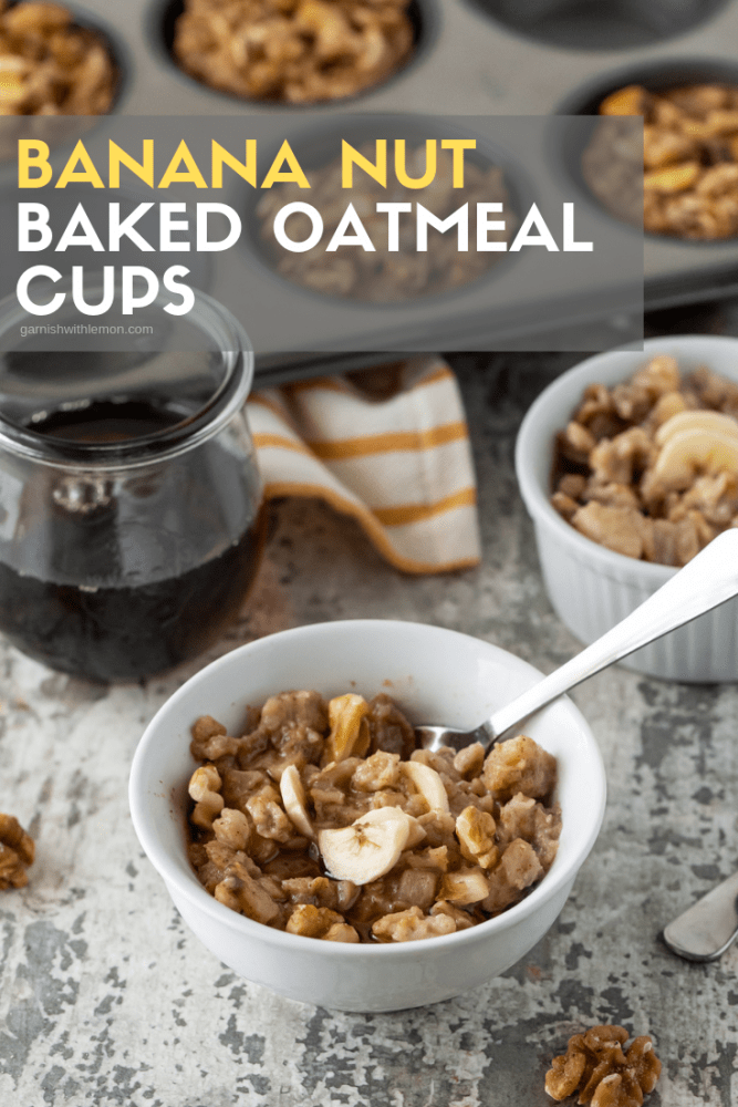 A muffin pan filled with Banana Nut Baked Oatmeal Cups. Oatmeal is garnished with real maple syrup, banana slices and chopped walnuts.