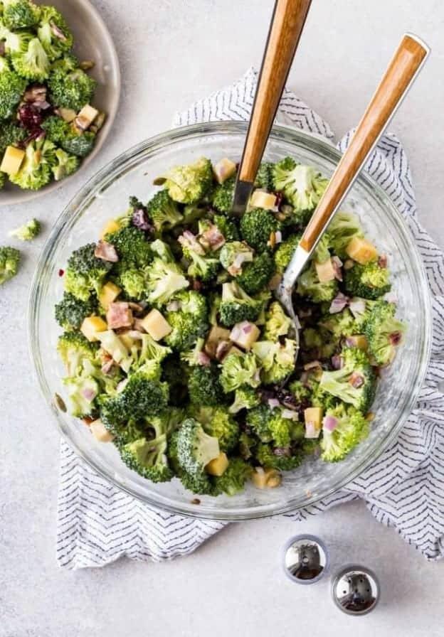 a bowl of broccoli salad.