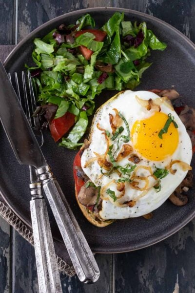 Open-Faced Mushroom and Fried Egg Sandwich recipe