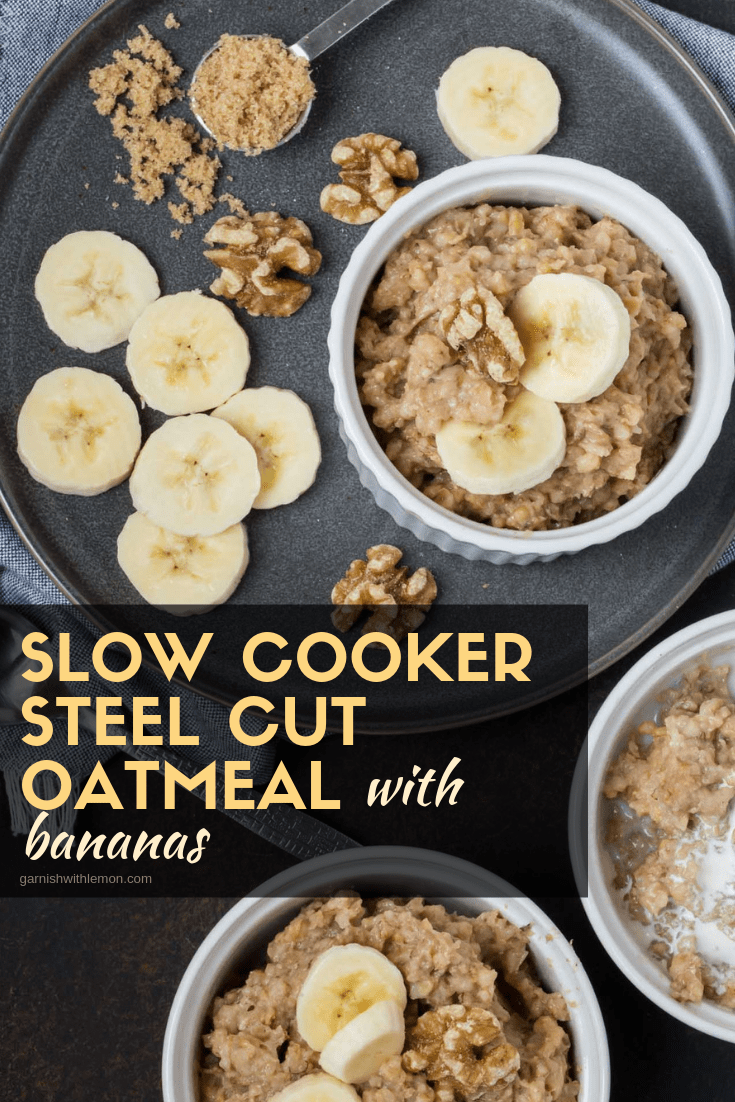 Slow Cooker Steel Cut Oatmeal with Bananas in white bowls. Oatmeal is garnished with fresh banana slices and walnuts.