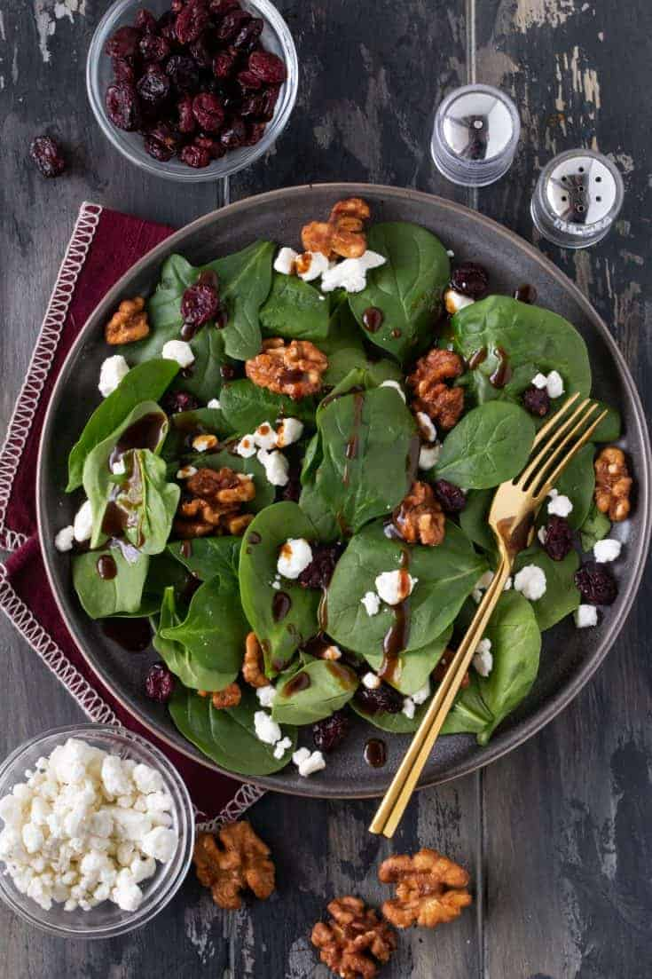 Spinach Salad with Goat Cheese, Craisins and Balsamic Vinaigrette Recipe