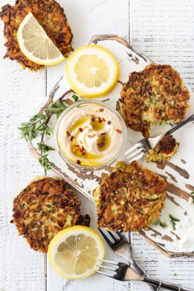 Crispy Zucchini Feta Fritters Recipe