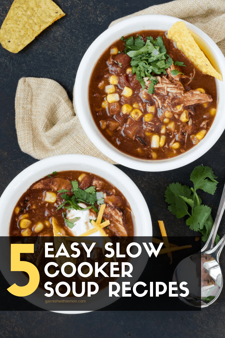 top down image of slow cooker chicken taco soup in white bowls