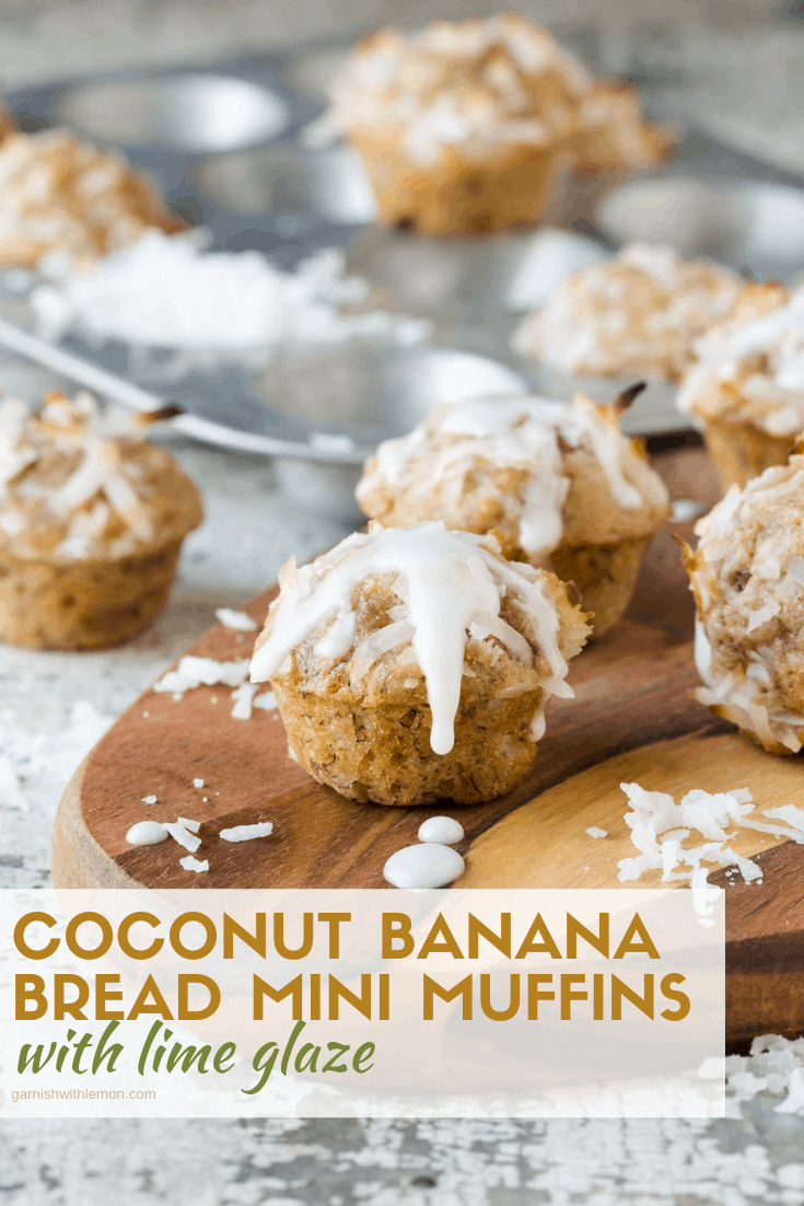 Coconut Banana Bread Mini Muffins drizzled with a fresh lime glaze and garnished with shredded coconut.