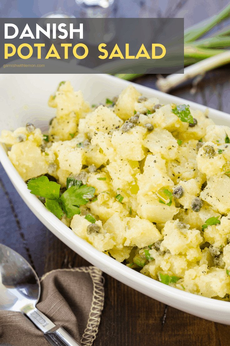 Close up of potato salad with capers.