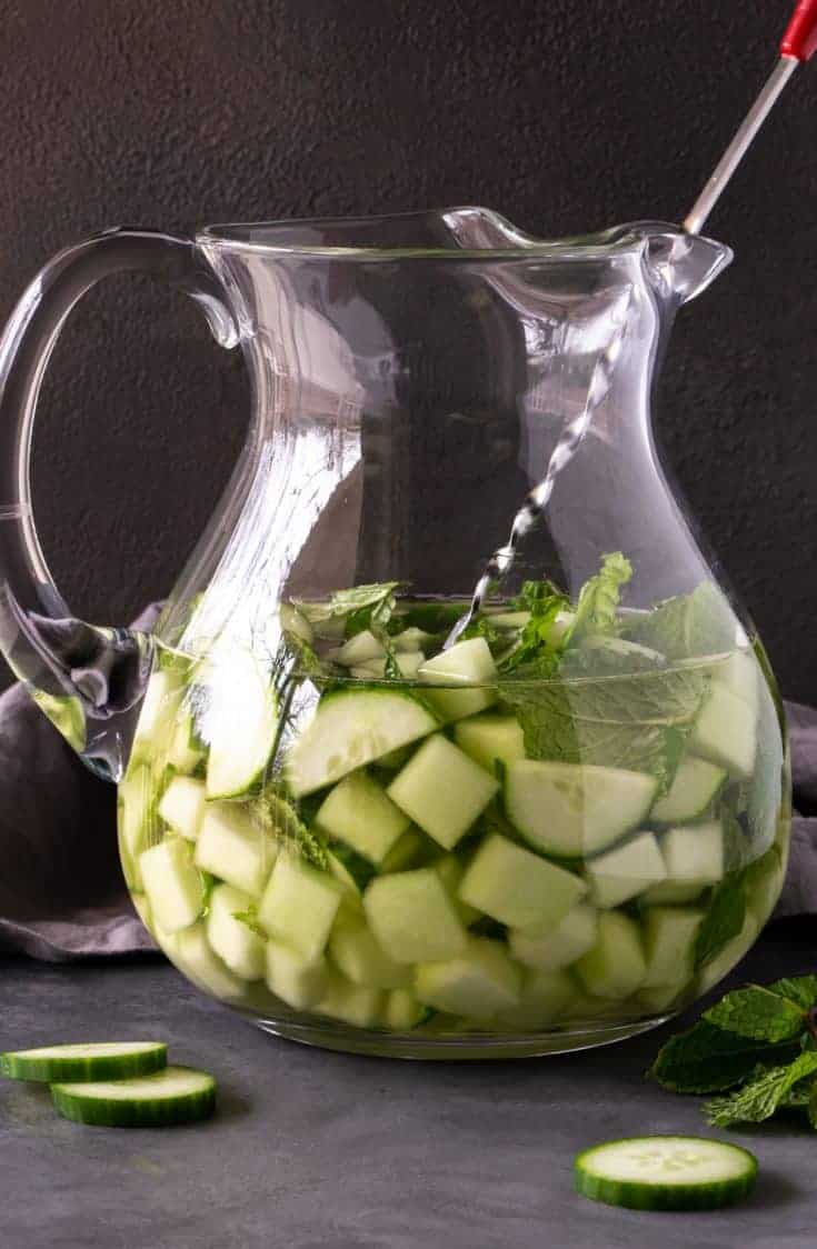 A pitcher of Cucumber Melon Sangria.