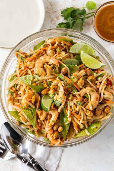 Spicy Peanut Noodle Salad with Shrimp