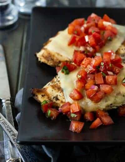 Cheesy Grilled Bruschetta Chicken