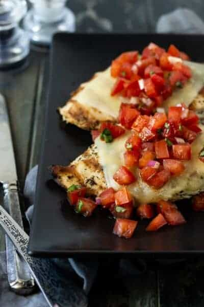 Cheesy Grilled Bruschetta Chicken