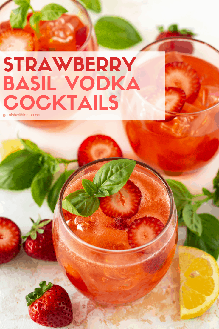 Add some colorful style to your summer happy hour with these easy, refreshing Strawberry Basil Vodka Cocktails. #strawberries #vodka #cocktails #basil #summer