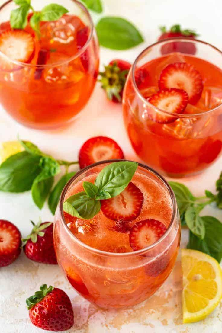 Strawberry Basil Vodka Cocktails