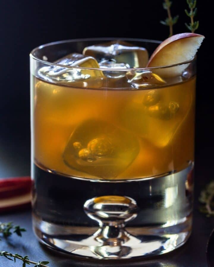 Glass of Apple Cider cocktail with bourbon.