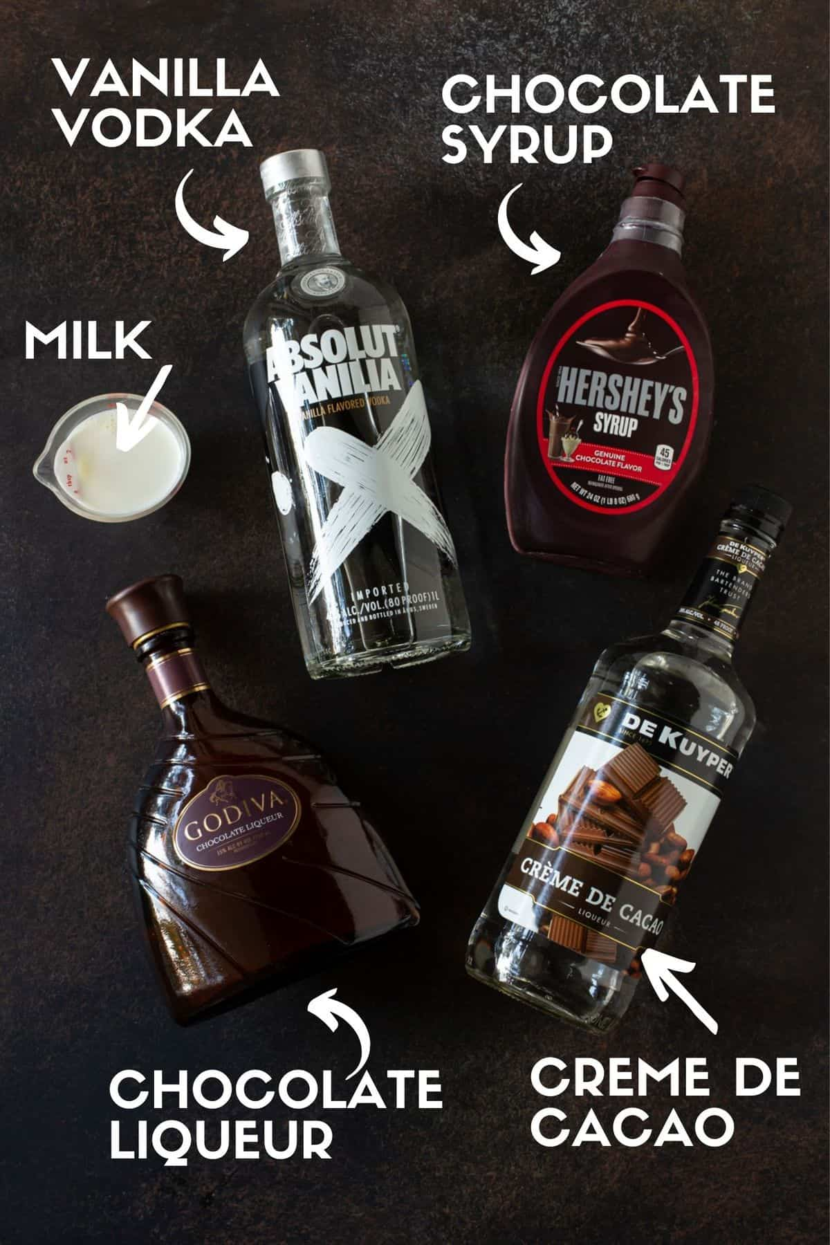 bottles of alcohol needed to make chocolate martini.