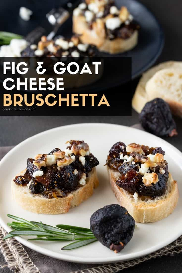 Fig and Goat Cheese Bruschetta on a white appetizer plate.