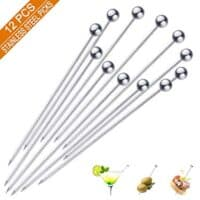 Cocktail Picks - Premium Stainless Steel Martini Olive Skewers Reusable Sandwich Sticks Appetizer Toothpicks Fruit Stick, Perfect for Party Home Bar - 4.3 Inches, 12PCS (Small Ball)