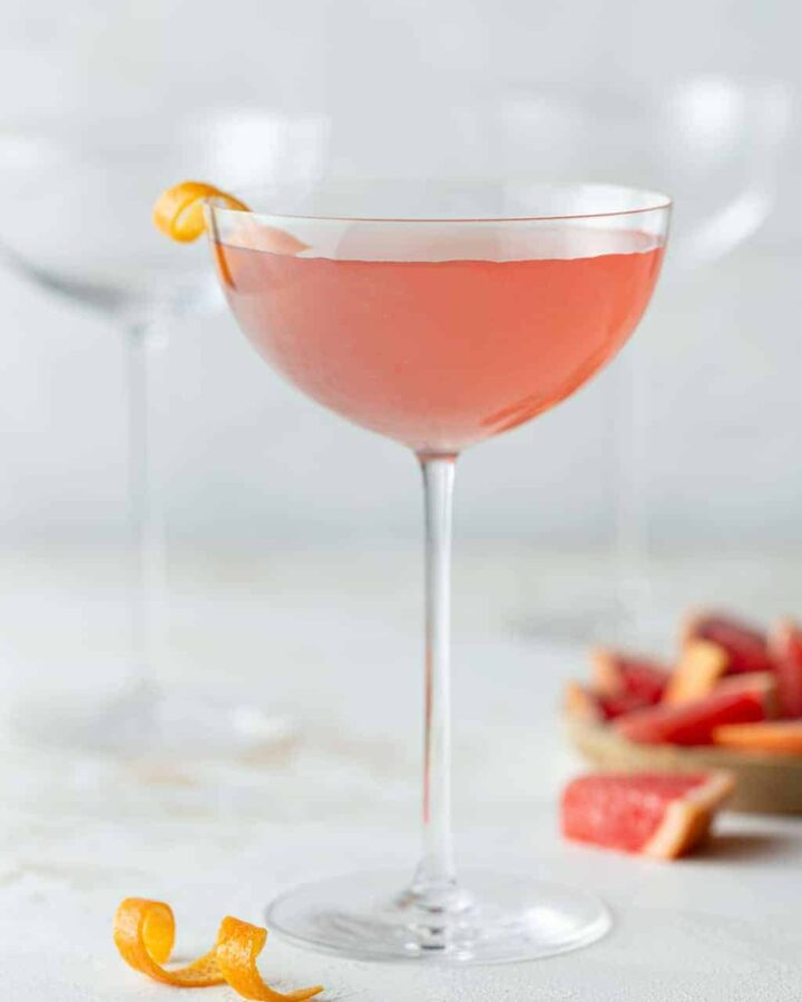 A glass of Grapefruit Martini.