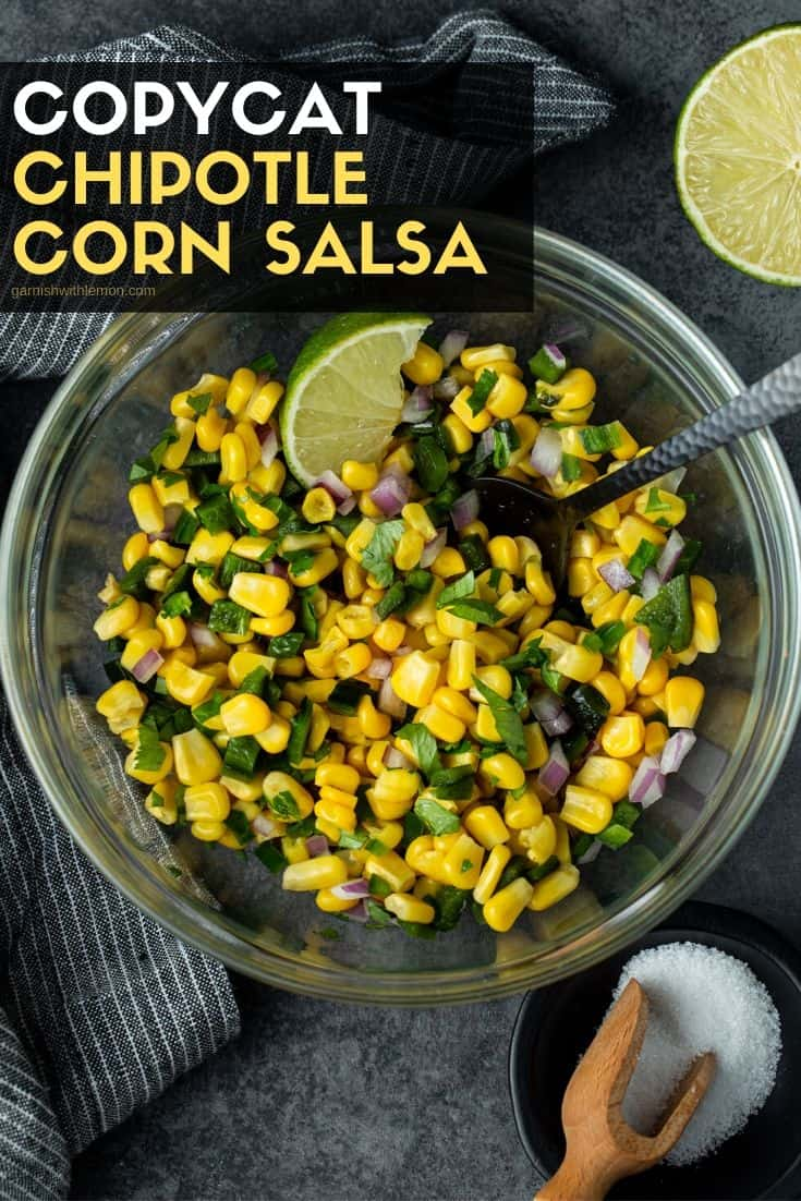 Large glass bowl filled with Chipotle Corn Salsa
