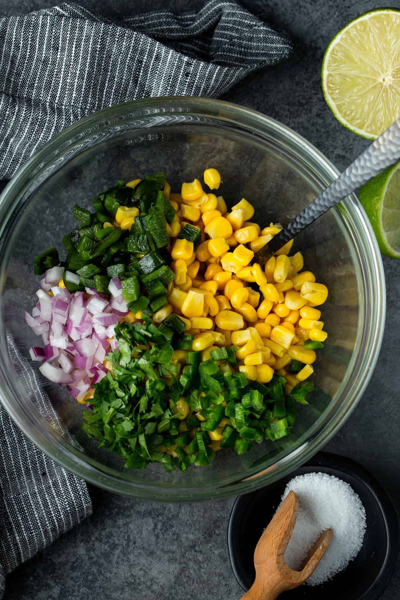 Chipotle Corn Salsa ingredients in a glass bowl