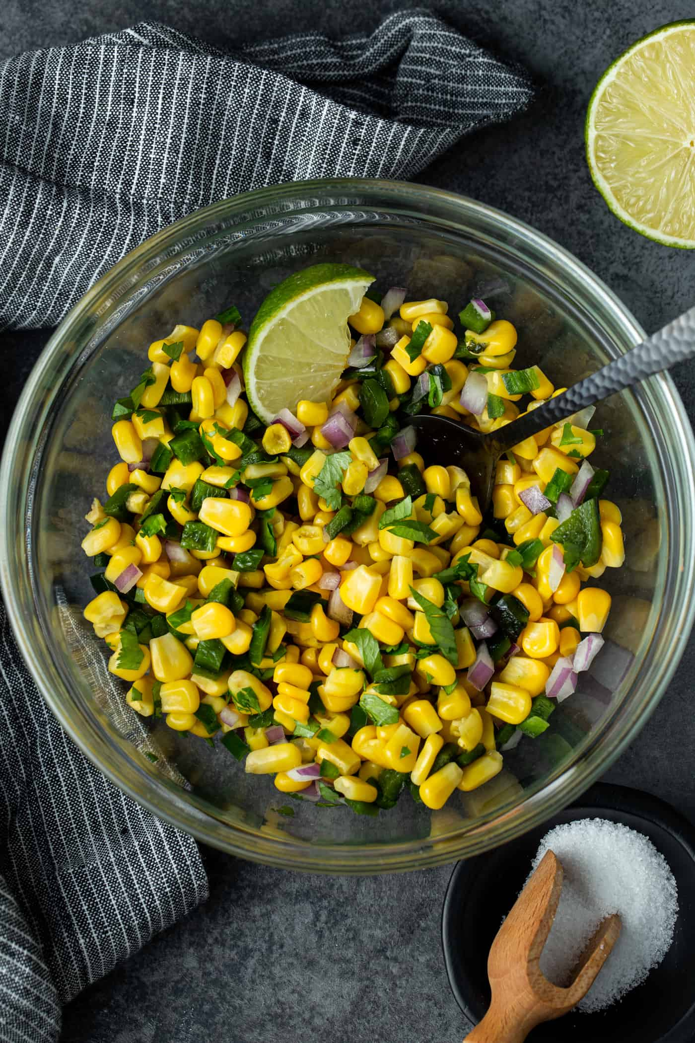 Glass bowl filled with copycat Chipotle Corn Salsa recipe