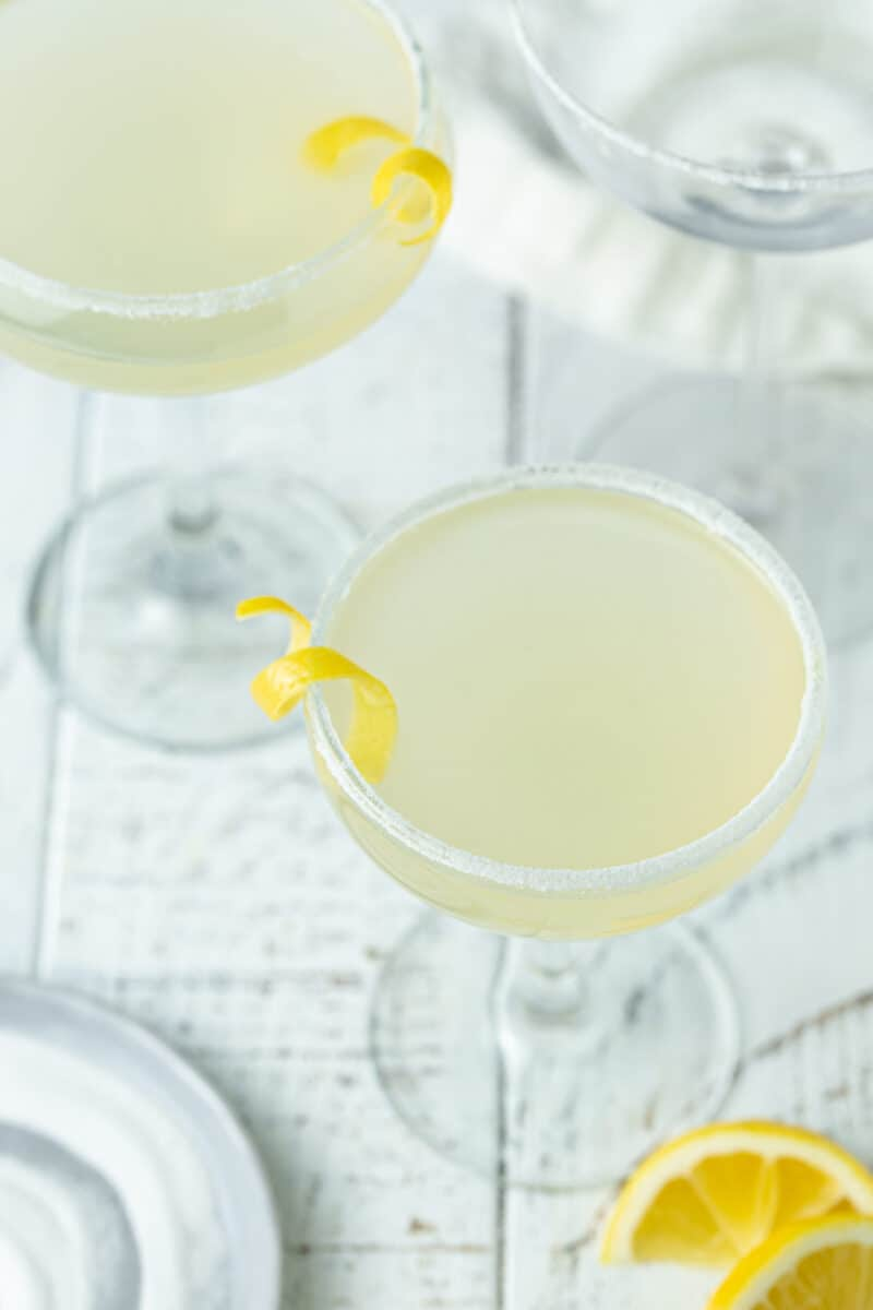 Top down picture of Elderflower Lemon Drop Martini in tall martini glasses with sugared rim.