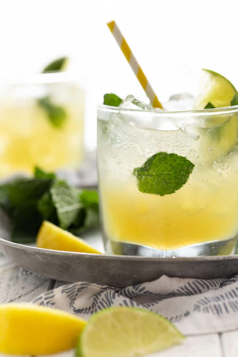 Bootleg Cocktails in low ball glasses with fresh mint leaves and lemon wedges for garnish.