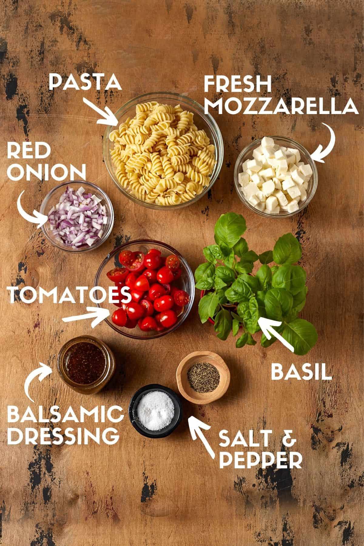 ingredients for pasta salad.