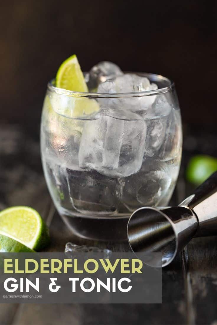 A gin and tonic cocktail in an ice-filled lowball glass.