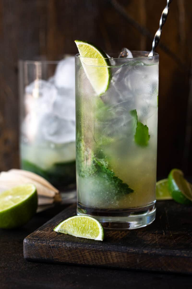 High ball glass filled with mojitos and garnished with lime wedges and fresh mint leaves on a dark background.