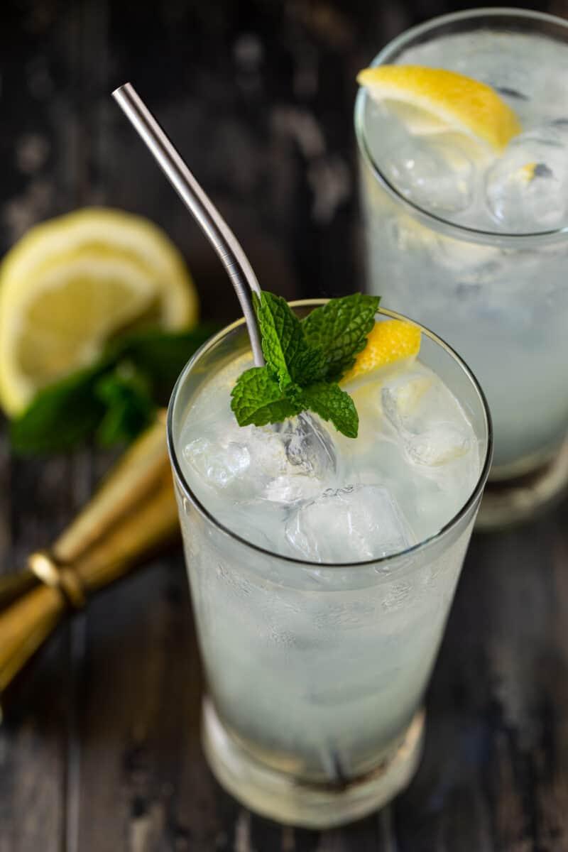 3/4 angle image of elderflower vodka lemonade cocktails in high ball glasses with mint leaves and lemon slices for garnish.