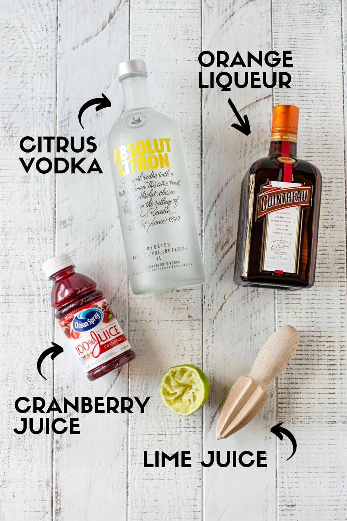Text with ingredients for Cosmopolitan.