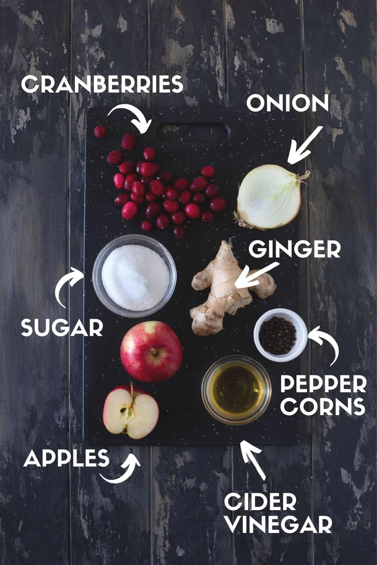 ingredients for cranberry apple chutney in bowls