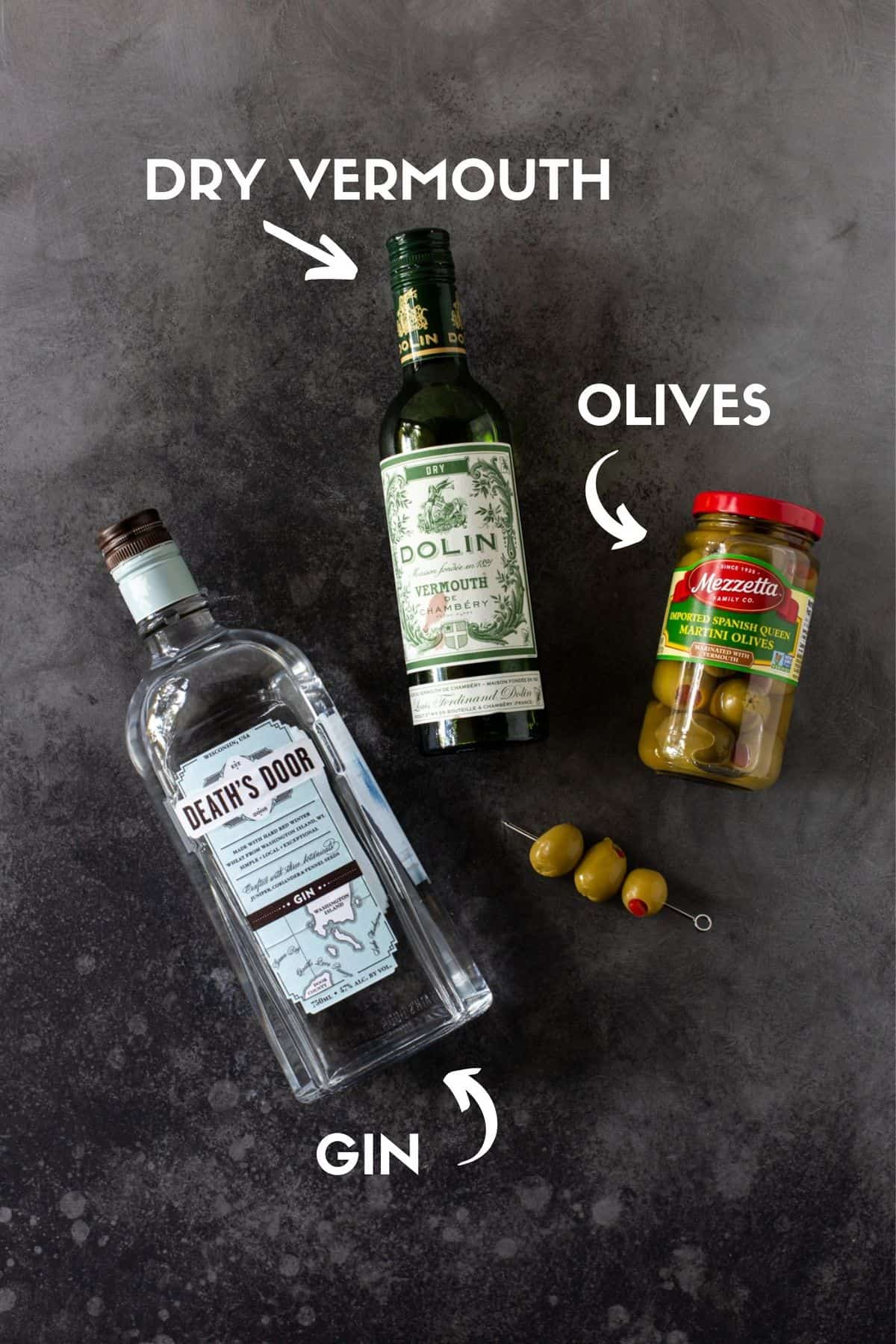 individual ingredients for gin martini