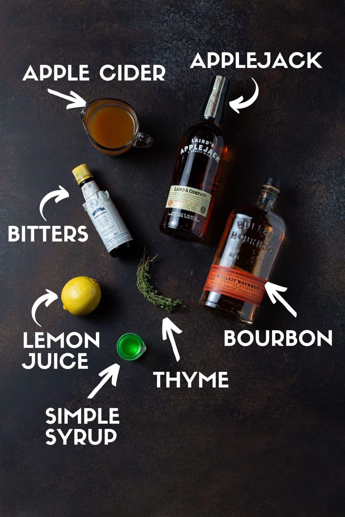 Drink ingredients including bourbon, applejack, apple cider, simple syrup, lemon juice, fresh thyme and bitters.