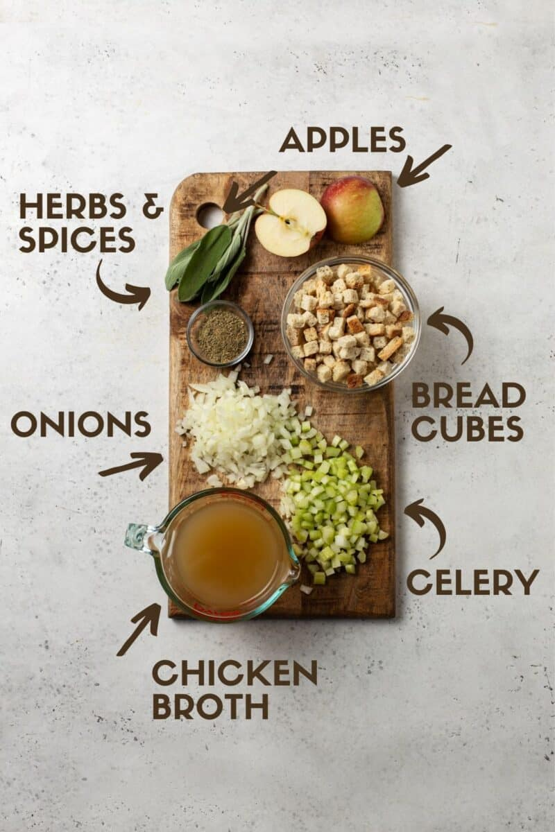 Diagram of ingredients for homemade stuffing.