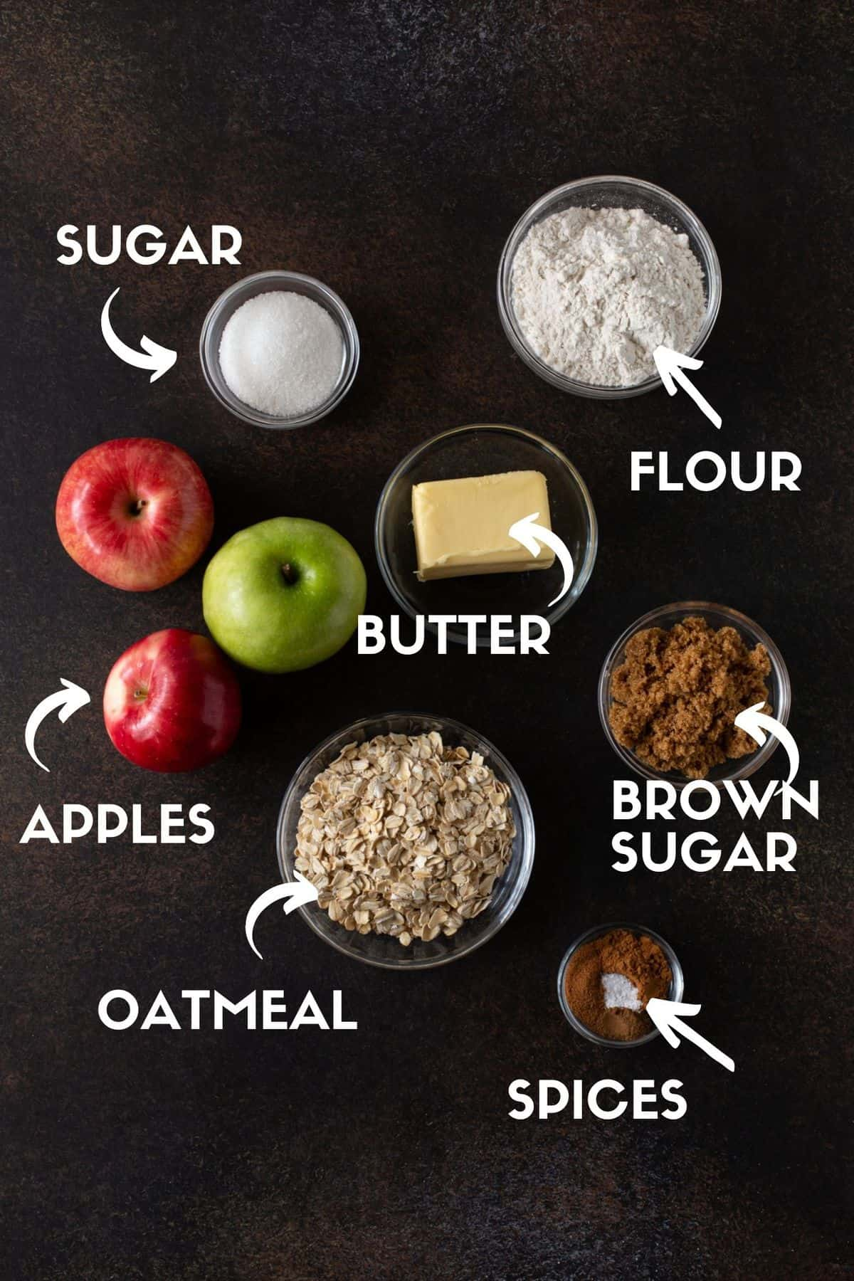 ingredients for apple bars, including flour, sugars, apples, butter, cinnamon and oats.