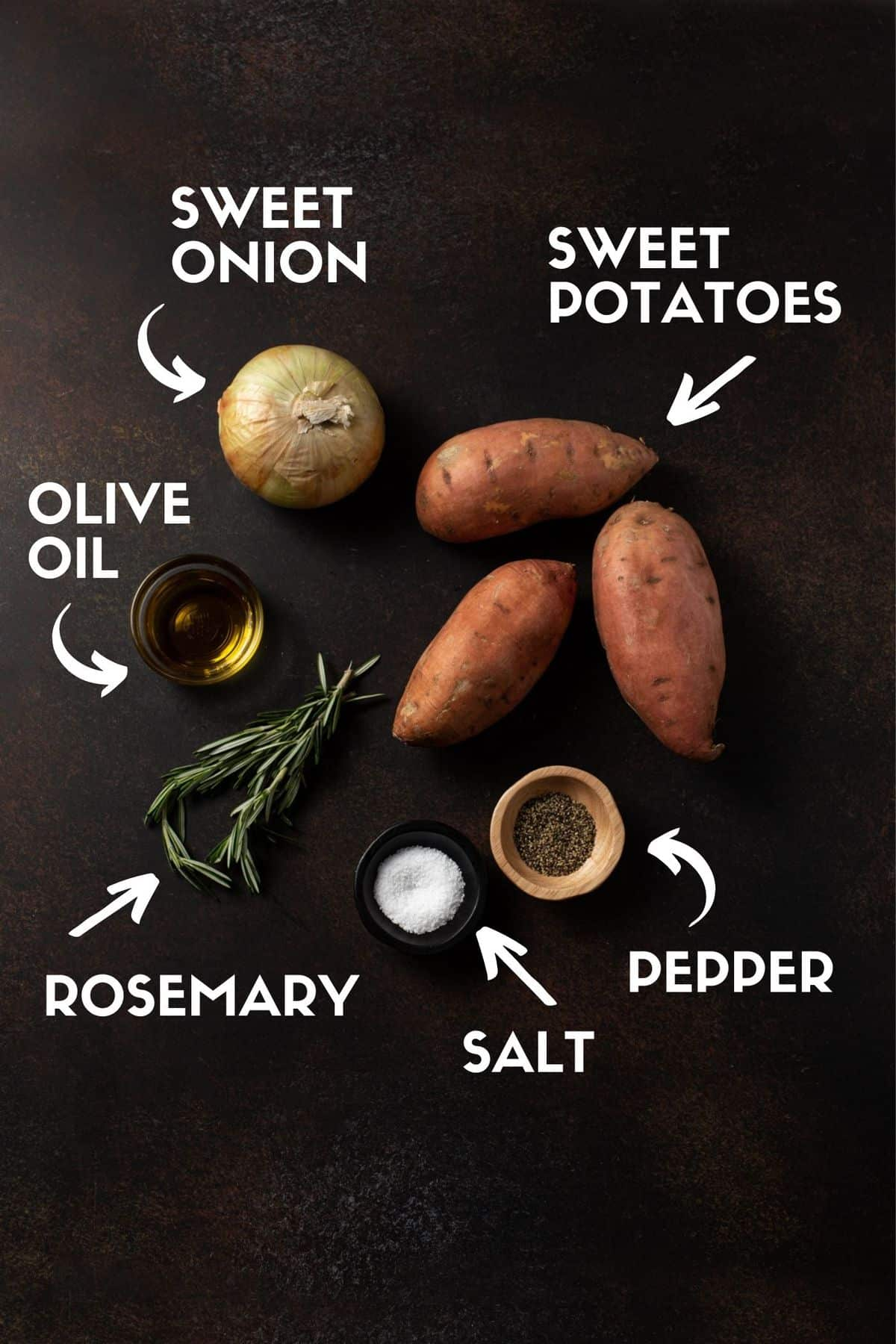 Ingredients including sweet potatoes, onion, olive oil, rosemary, salt and pepper.
