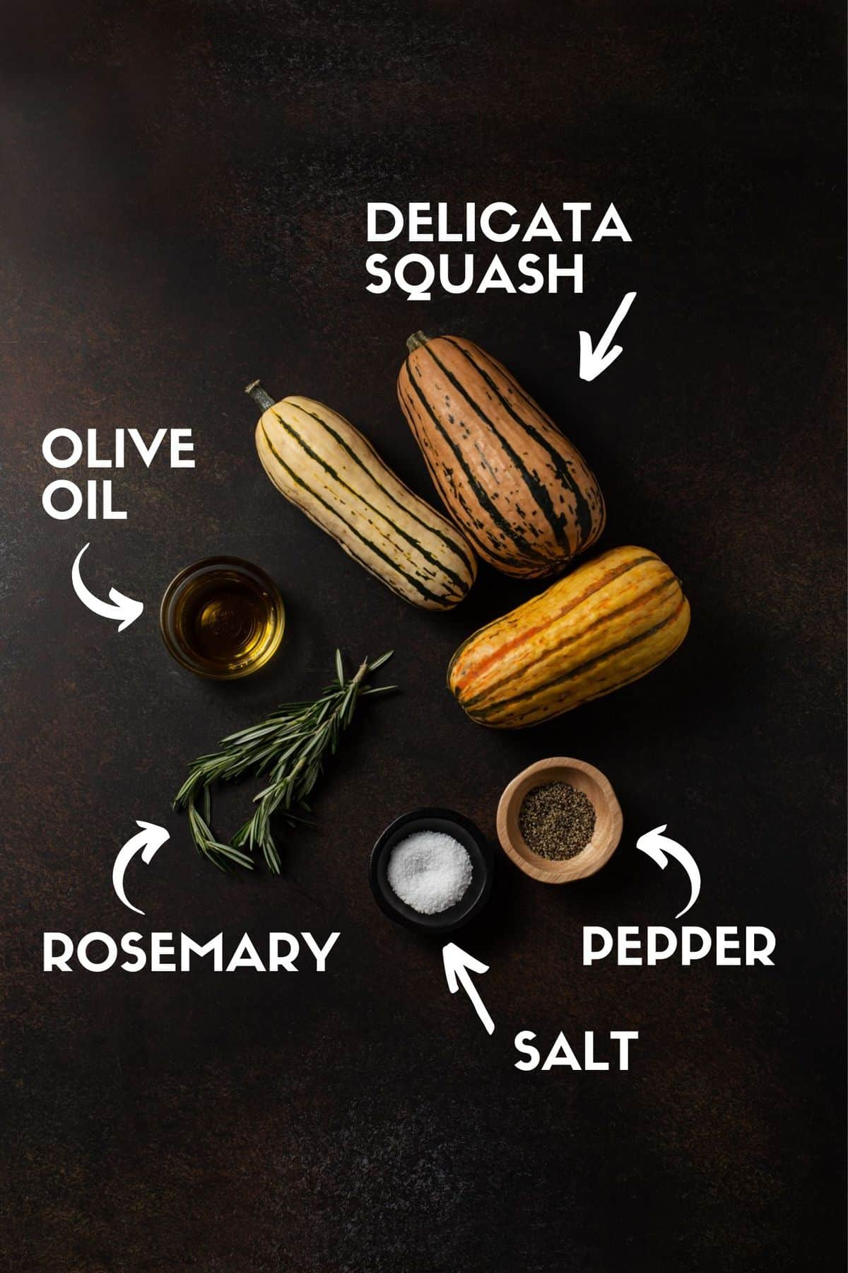 recipe ingredients, including delicata squash, salt, pepper, olive oil and fresh rosemary