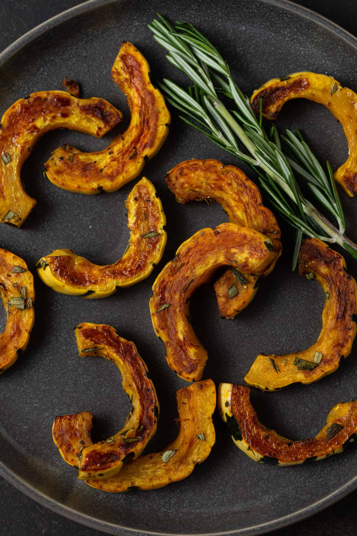 roasted delicata squash pieces on a dark plate with fresh rosemary