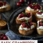 Cranberry salsa on bread with cream cheese.