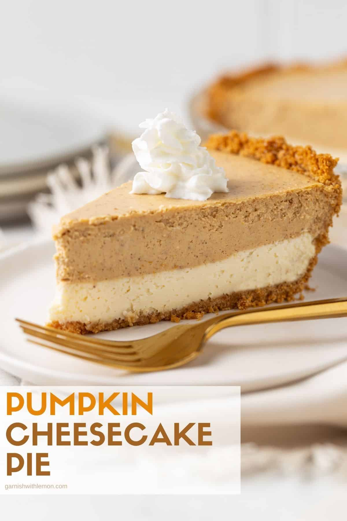 A piece of cake and whipped cream on a plate, with Cheesecake and Pumpkin.