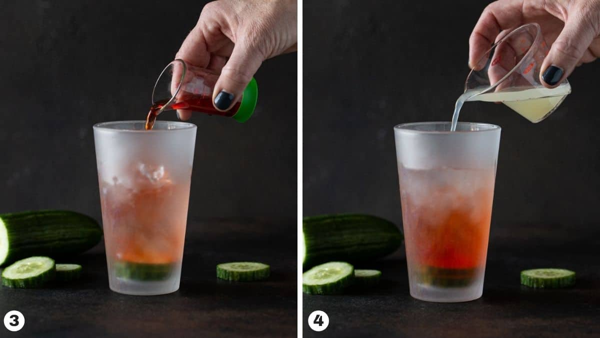 shaker filled with ice, aperol and lime juice.