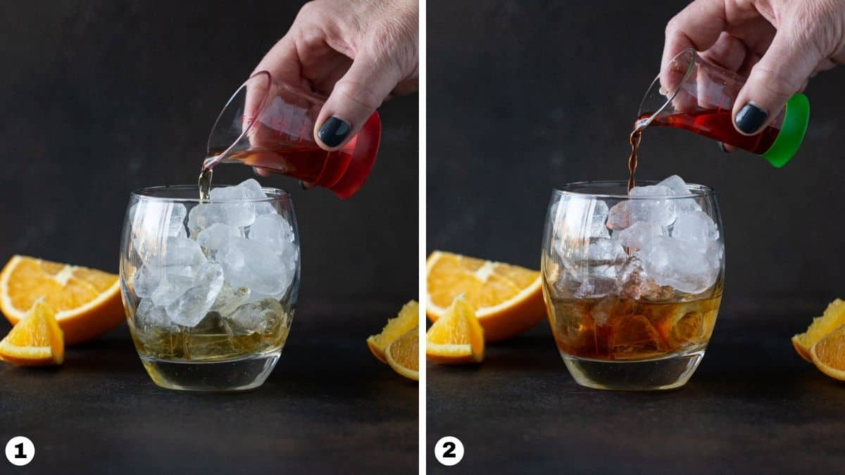Steps 1-2 of making drink: pour bourbon and Aperol into ice-filled lowball glass.
