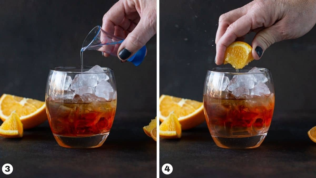 Steps 3-4 of making drink: add simple syrup and squeeze orange wedge into glass.