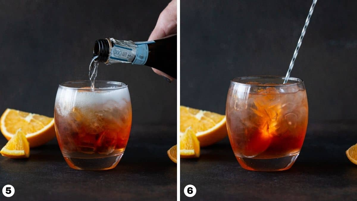 Steps 5-6 of making drink: top with Prosecco and stir to combine.