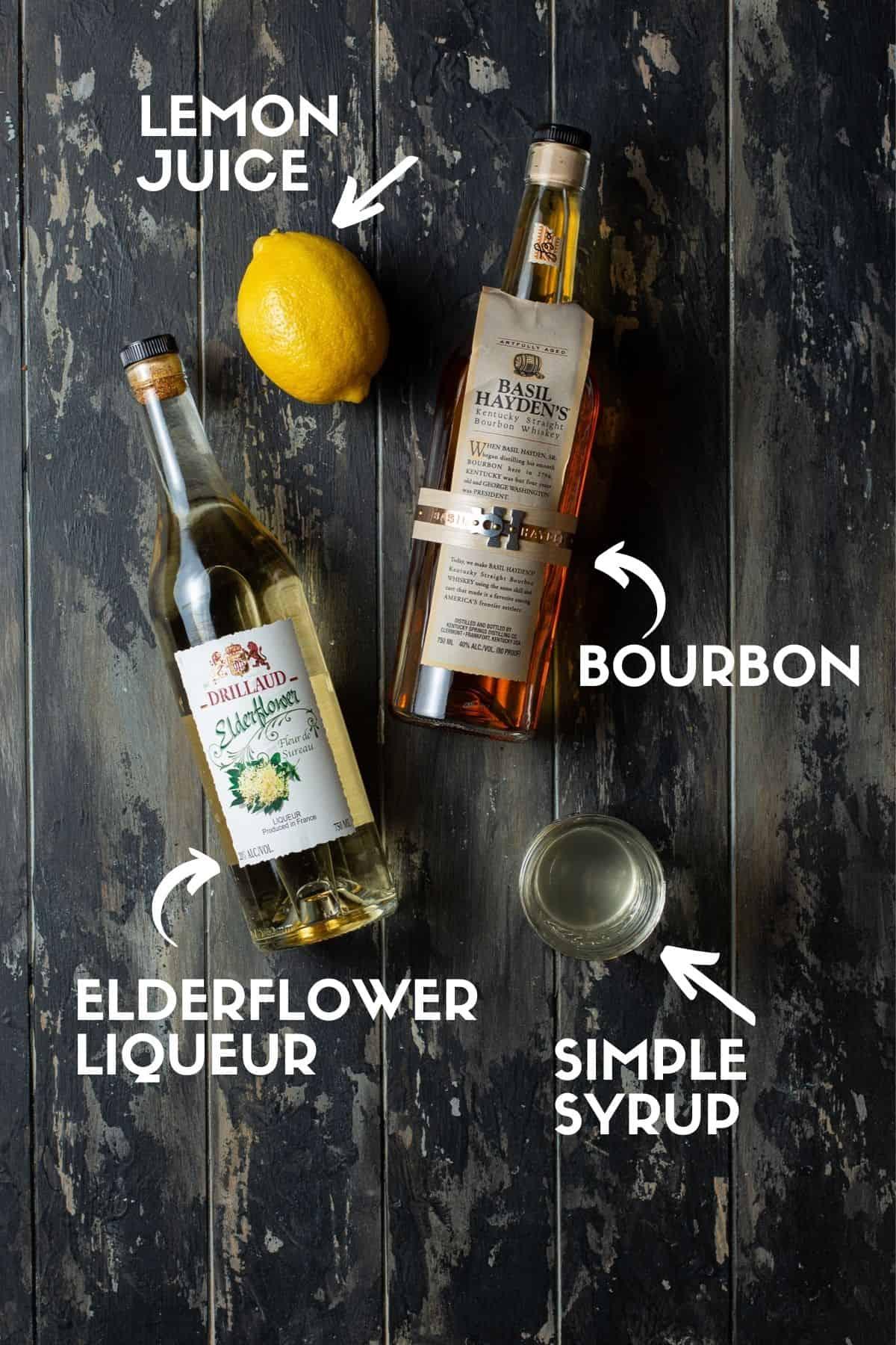 Cocktail ingredients including bourbon and elderflower liqueur.