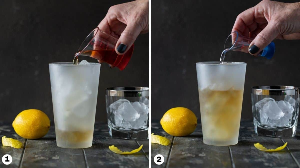 Pouring drink ingredients into cocktail shaker.