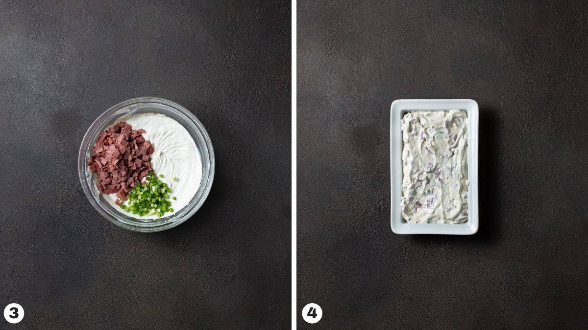 bowl full of cream cheese, sour cream, chipped beef and green onions. Dip in baking dish.